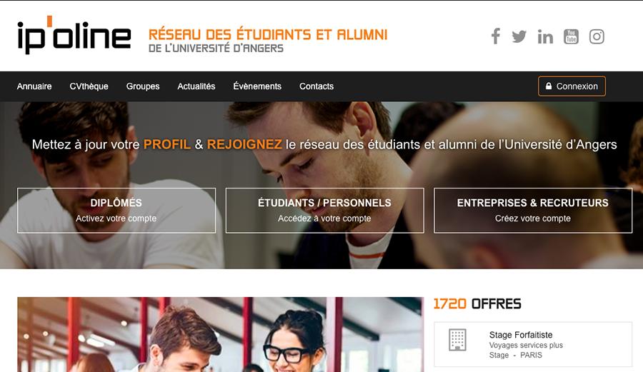 ipoline, le réseau des étudiants et alumni de l'université d'angers développé par AlumnForce.