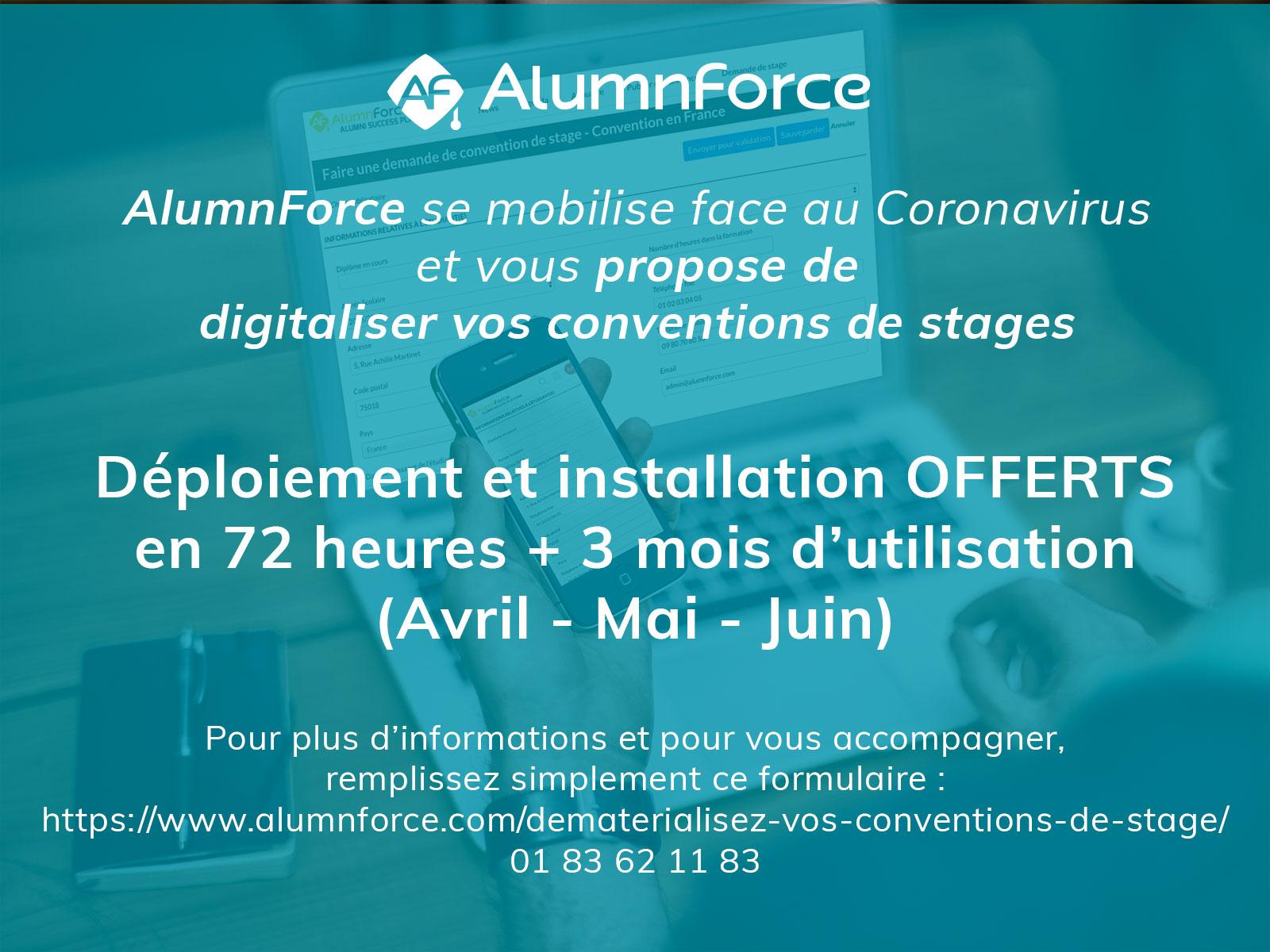 AlumnForce se mobilise face au Coronavirus  et vous propose de digitaliser vos  conventions de stages jusqu'à la signature